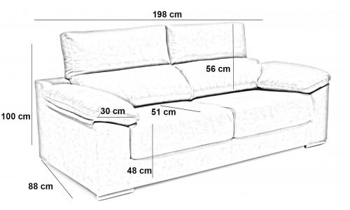 Sofá 3 plazas deslizante y reclinable. Eurosomni