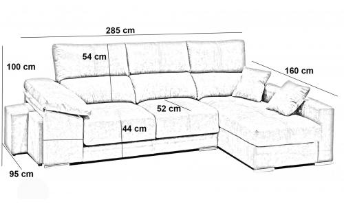Sofà chaiselongue extraïble i reclinable