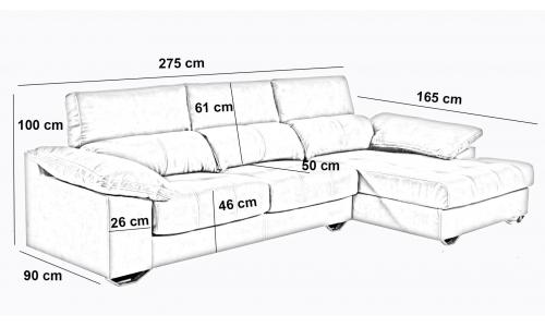 Sofà chaiselongue seients extensibles i respatllers reclinables Memphis